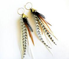 Feather Hoop Earrings love these