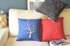 cotton linen Fabrics Black Math Geometry Blue tree Red heart-shaped Pillow Cover pillow case cushion cover cushion case pillow cushion by ILovePillow on Etsy https://www.etsy.com/listing/123951003/cotton-linen-fabrics-black-math-geometry