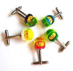 Space LEGO Smiley Helmet Cufflinks