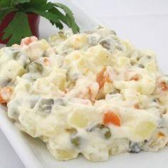 Mayonnaise Fruit Salad is made with mayonnaise, apples, mandarin oranges,. Veg Salad Recipes, Fruit Recipes, Cooking Recipes, Ensalada Rusa Recipe, Fruit Salad Ingredients, Russian Potato Salad, Sour Candy, Mayonnaise, Celery