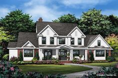 This modern farmhouse style house plan features an efficient layout that feels modern and cool.