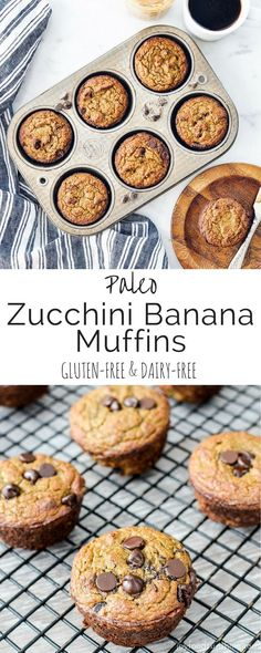 Paleo Zucchini Banana Muffins! The perfect healthy breakfast recipe that delivers a serving of fruits AND veggies! Kid tested and husband approved! Paleo, gluten-free & dairy-free!