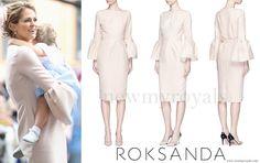 Princess madeleine wore ROKSANDA Margot Flannel Crepe Bell Sleeve Dress www.newmyroyals.com