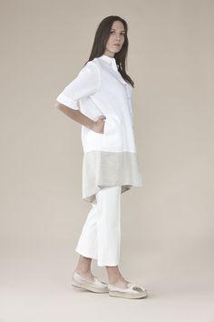 Long Linen shirt with yoke 165.00$