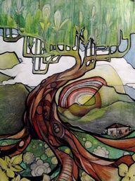 original pinner original pinner: David Hale - humans rarely sneak into my tree boards but I thought this warranted the visit. Lots of fun and colour. Guache, Ap Art, Arte Pop, Art Plastique, Tree Art, Art Lessons, Amazing Art, Watercolor Art, Art Nouveau