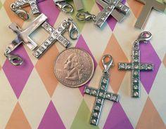 1 pc. ~ Gorgeous modern silvertone rhinestone cross with lobster clasp by BuildUrBling on Etsy