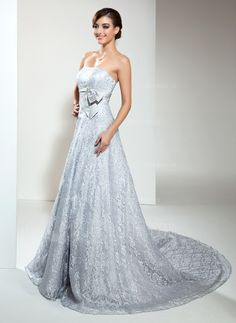 Wedding Dresses - $254.99 - A-Line/Princess Strapless Chapel Train Satin Lace Wedding Dress With Beading (002000173) http://amormoda.com/A-line-Princess-Strapless-Chapel-Train-Satin-Lace-Wedding-Dress-With-Beading-002000173-g173