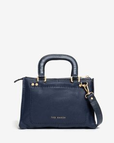 Stab stitch leather tote bag - Navy | Bags | Ted Baker ROW