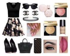 """""""Night in Paris #2"""" by micaylawalker12 on Polyvore featuring Forever New, Chicwish, CÉLINE, Giuseppe Zanotti, 2Me Style, Bobbi Brown Cosmetics, Giorgio Armani, Chanel and LULUS"""