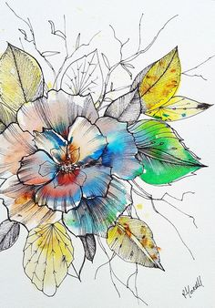 flower illustration Original Artwork Painting. Unique Watercolour by RebeccaYoxallArt. pen and wash