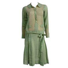 "1stdibs | 1920s ""Gatsby"" Style Mint Green Linen Day Dress w/ Eyelet Lace"