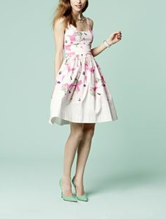 Love the pink poppy print on this fit  flare dress!