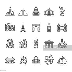 International Landmark and Famous Place - outline vector icons - Royalty-free Architecture stock vector Henna Doodle, Doodle Art, Free Vector Art, Vector Icons, Icon Set, Icon Design, Web Design, Flat Design, Building Icon