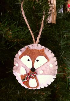 Fox in the snow ornament by MoonbeamsMuchness on Etsy