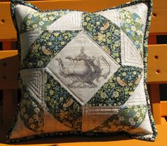 """Royal Tea""  pillow using vintage crown and tea pot images  applied to fabric   via transfer paper."
