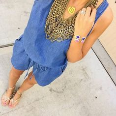 Gold Statement Necklace On Denim Streetstyle by For The Love Of Fancy