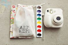 """Love the stamped muslin bag...filled with small art supplies, this would make an awesome """"goody bag"""" sans candy."""