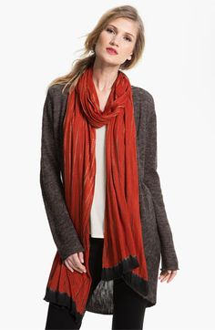 Eileen Fisher Shibori Scarf in Spice and Charcoal