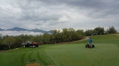 Golf course maintenance crew hard at work during monsoon season at The Views Golf Club at Oro Valley