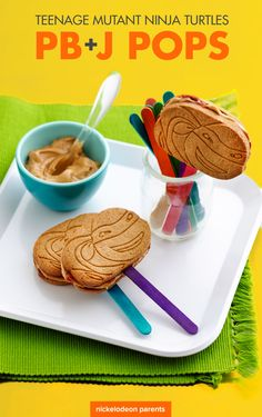 Make an extra special peanut butter and jelly after-school snack. Add a little booyakasha with Ninja Turtles oat crisps and some popsicle sticks.