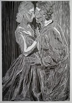 A linocut of Posthumus and Imogen in a production of Shakespeare's 'Cymbeline'