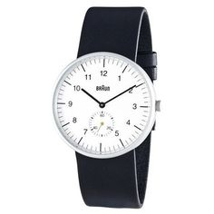 Braun Men's Analog Wrist Watch, White Face 38 mm - BN-24WHG