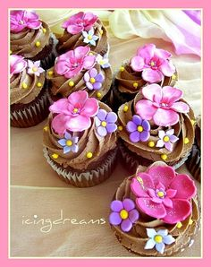 Pink Florals    I made these for the Vancouver Childrens Hospital. They are chocolate cupcakes with coco buttercream frostings. The flowers are tonal pinks layered with purples and blue. Very girly, i would love to see a guy eating these ! =) my-creations my-creations food-that-means-something