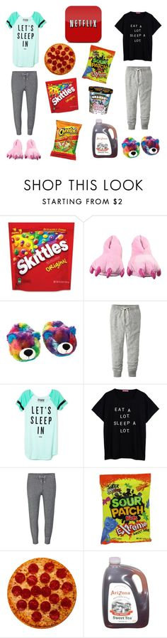 """""""Slumber party outfit"""" by valerievalenzuela ❤ liked on Polyvore featuring Uniqlo, Victoria's Secret PINK, Zoe Karssen and Cotton Candy"""