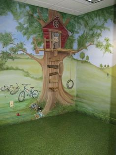 Tree House Mural w/ Rolling Hills..LOVE! Perfect for the playroom in the basement.