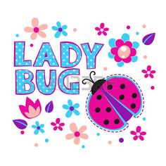 Cute girlish illustration with ladybug and flowers, vector template for t-shirts design photo