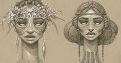 Ces somptueux portraits réalisés au fusain illustrent toute la beauté des déesses africaines du soleil