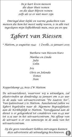 Egbert van Riessen overlijdensbericht en condoleances - Mensenlinq.nl