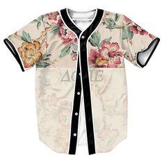 """Faded Flowers"" 3D Baseball Jersey …"