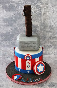 Captain America & Thor Birthday Cake - by Always with Cake!