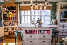 Fiber Arts Studio Tour! Yarn Storage Galore...Perfect for loom knitters.