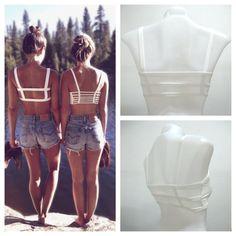 NEW Woman's 3 Strap Strappy White Bra Bralette Lingerie Festival Beach Preppy Fashion Wear