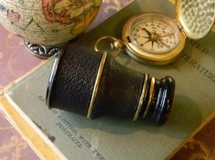 Elegant Antique Brass and Leather Pocket Spy by CuriosityShopper