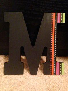 Sorority wooden letter initial, big little crafts, diy crafts, wooden letter, tribal print