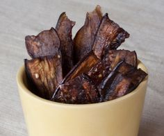 Eggplant jerky (or eggplant bacon) is a tasty way to preserve this unique vegetable. It's sweet, salty, and rich like bacon and chewy and meaty like jerky.