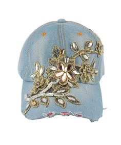 7c7e240561818 Women Diamond Flower Baseball Cap Summer Style Lady Jeans Hats 2 CJ17AZLTLIC