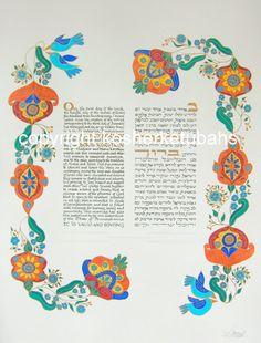 Handmade Ketubah -  Lovers' Garland - Free Custom Options by KosherKetubot on Etsy