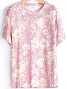 Pink Short Sleeve Rose Print Loose T-Shirt - Sheinside.com