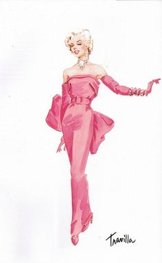 Costume design sketch by Travilla for Marilyn Monroe in 'Gentlemen Prefer Blondes, 1953