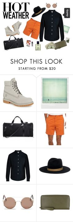 """High summer"" by weirdohouse on Polyvore featuring Timberland, Polaroid, Vocier, Saddlebred, Simon Miller, Janessa Leone, Sunday Somewhere, Valextra, men's fashion y menswear"