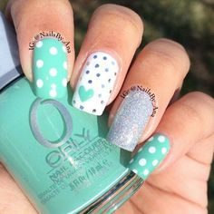 Spring nail colors nail art inspiration for spring time mint nail art, mint Spring Nail Colors, Spring Nail Art, Spring Nails, Summer Colors, Summer Fun, Mint Nail Designs, Best Nail Art Designs, Easter Nail Designs, Stylish Nails