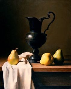 Pears and Bronze Pitcher by Benjamin Wu Oil ~ 20 x 16 Still Life Drawing, Still Life Art, Oil Painting Pictures, Pictures To Paint, Caravaggio, Sculpture Head, Still Life Images, Mural Art, Still Life Photography
