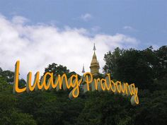 Mount Phu Si is a hill right at the centre of the old town of Luang Prabang. It is bordered on one side by the Mekong River and on the other side by the Khan River. Luang Prabang, Laos, The Other Side, Old Town, Presentation, Old Things, Neon Signs, River, The Holy Mountain