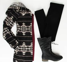 We think this outfit is perfect for a trip to the mountains! Take a walk in the woods with this stylish Aztec sweater. At the DEB Shop, Colonial Park Mall, Harrisburg, PA.