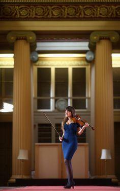 Virtuoso violinist Nicola Benedetti, stands in the Playfair Library in the University of Edinburgh on February 18, 2011 in Edinburgh, Scotla...