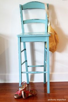 Annie Sloan's Provence Blue Chalk Paint - easily distresses, then use wax to seal it. Voila! :)